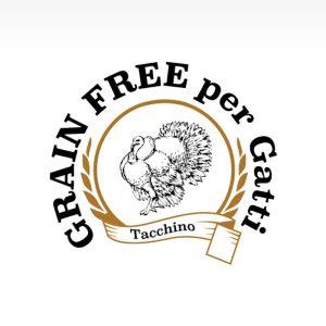 Etichetta cibo per gatti adulti intolleranti, grain free con tacchino, patate dolci e mirtillo rosso.