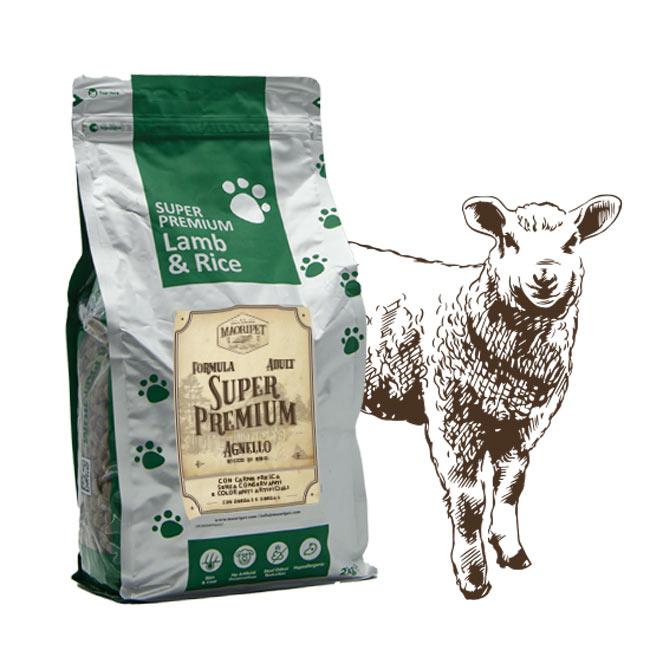 Cibo per cani adulti, Linea Super Premium con agnello e riso