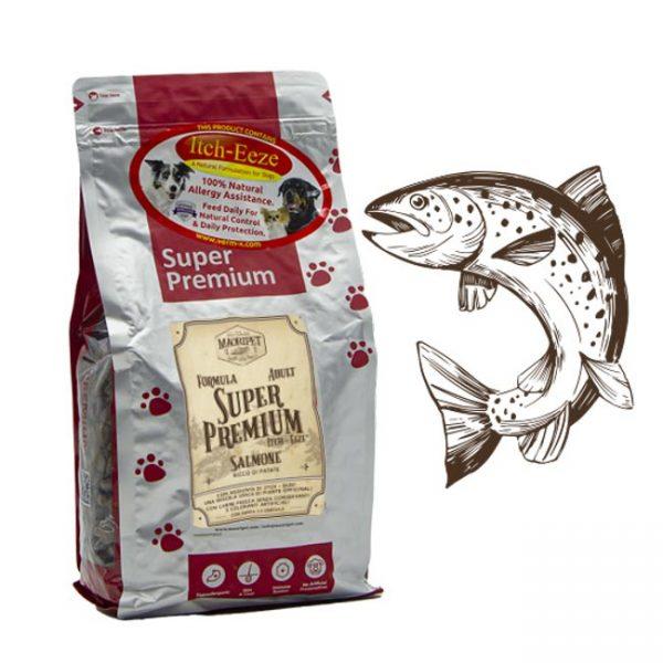Cibo per cani adulti, Linea Super Premium con salmone e aggiunta di itch eeze (miscela di piante officinali)
