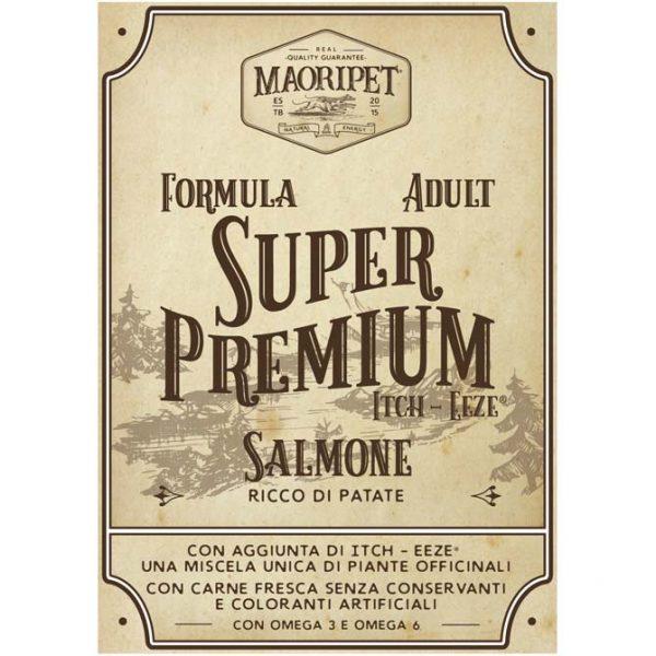 Etichetta cibo per cani adulti, Linea Super Premium con salmone e aggiunta di itch eeze (miscela di piante officinali)
