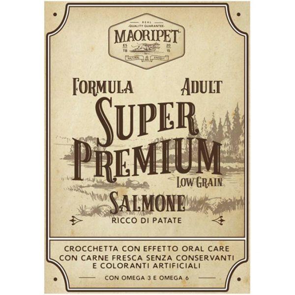 Etichetta cibo per cani Linea Super Premium, crocchette ad effetto oral-care con salmone