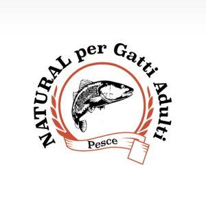 Etichetta cibo per gatti adulti in crocchette di pesce bianco e riso con effetto oral care.