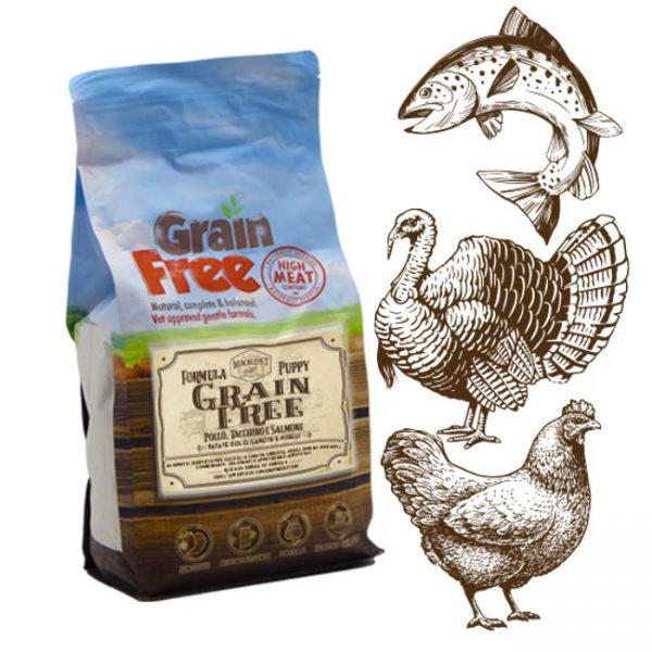 Cibo per cani Grain Free con pollo, tacchino, salmone, patate, carote e piselli