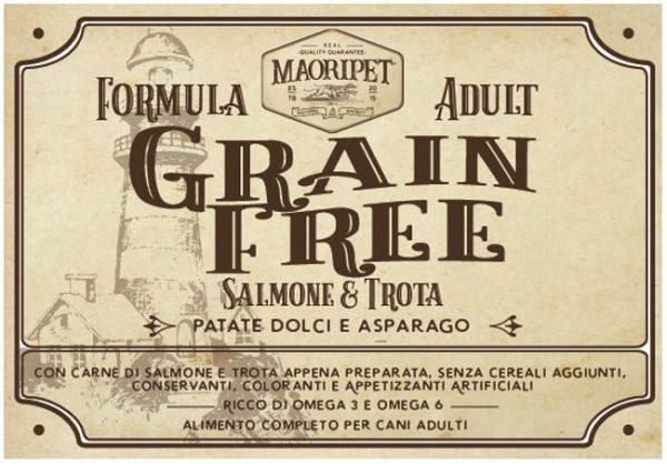 Etichetta Cibo per cani Grain Free con salmone, trota, asparago