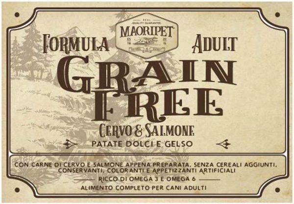 Etichetta cibo per cani adult Grain Free con cervo, salmone, patate e mora