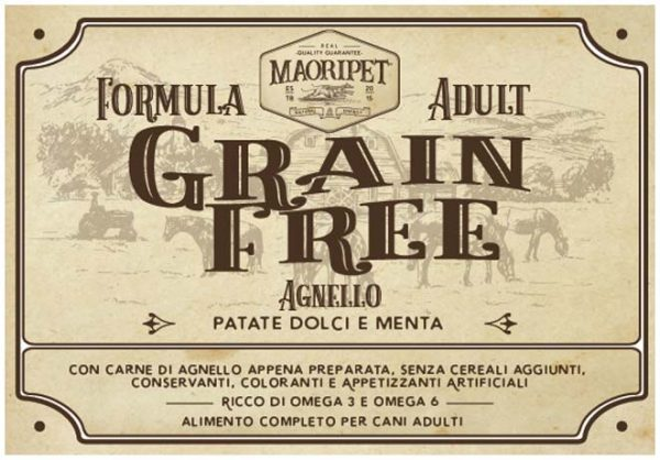 Etichetta cibo per cani Grain Free con agnello, patate e menta
