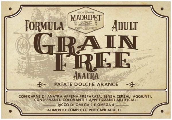 Etichetta cibo per cani Grain Free con anatra, patate e arance