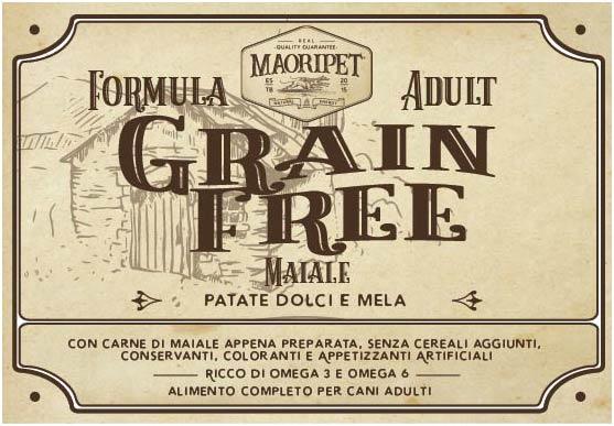 Etichetta cibo per cani grain free con maiale, patate e mela