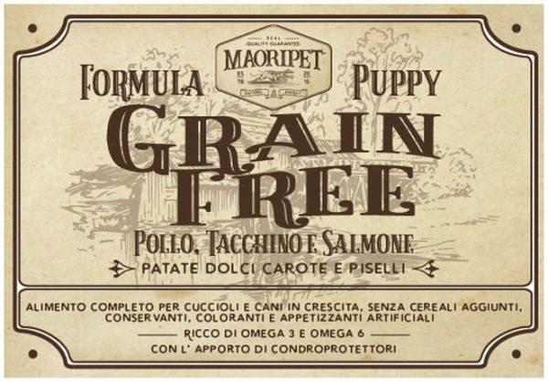 Etichetta cibo per cani Grain Free con pollo, tacchino, salmone, patate, carote e piselli