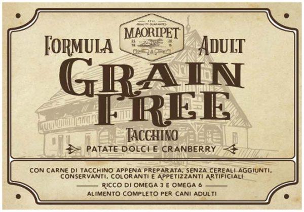 Etichetta cibo per cani Grain Free con tacchino, patate e mirtillo rosso
